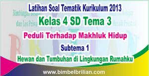 Soal Tematik Kelas 4 SD Tema 3 Subtema 1 Peduli Terhadap Makhluk Hidup dan Kunci Jawaban - www.bimbelbrilian