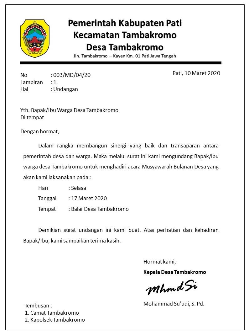 Contoh Surat Undangan Musyawarah Desa