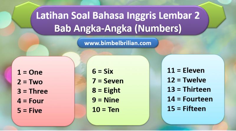 Soal Bahasa Inggris Bab Angka Numbers Kelas 1 SD Lembar 2