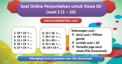 Soal Online Penjumlahan Level 2 untuk Kelas 1 & 2 SD (1 – 20)