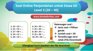 Soal Online Penjumlahan Level 3 untuk Kelas 1 & 2 SD (20 – 40)