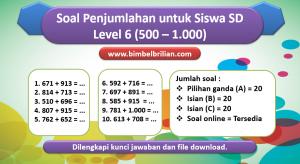 Soal penjumlahan level 6 untuk Siswa SD