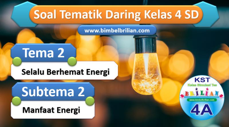 Soal Daring Kelas 4 SD Tema 2 Subtema 2 Manfaat Energi