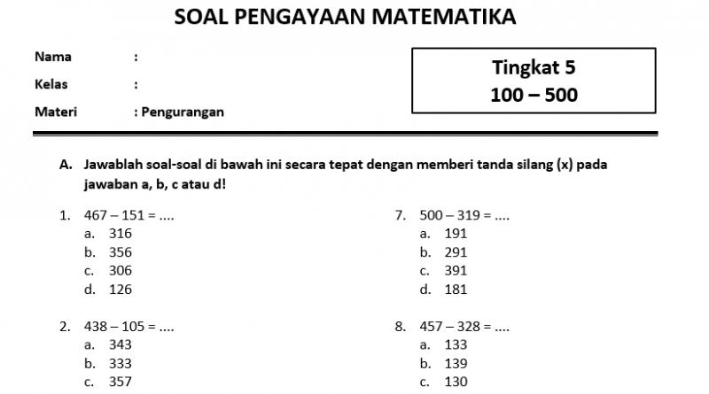 Soal Pengurangan Level 5 SD