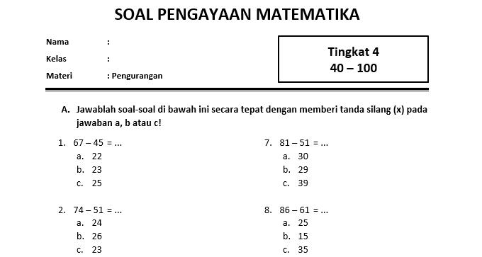 Soal pengurangan Kelas 2 SD