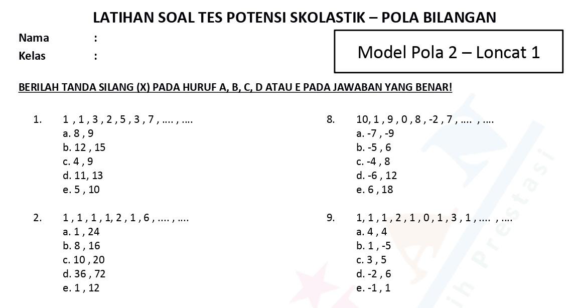 Soal TPS Pola Angka Bilangan Model Pola 2 Loncat 1 dan Pembahasan - www.bimbelbrilian.com