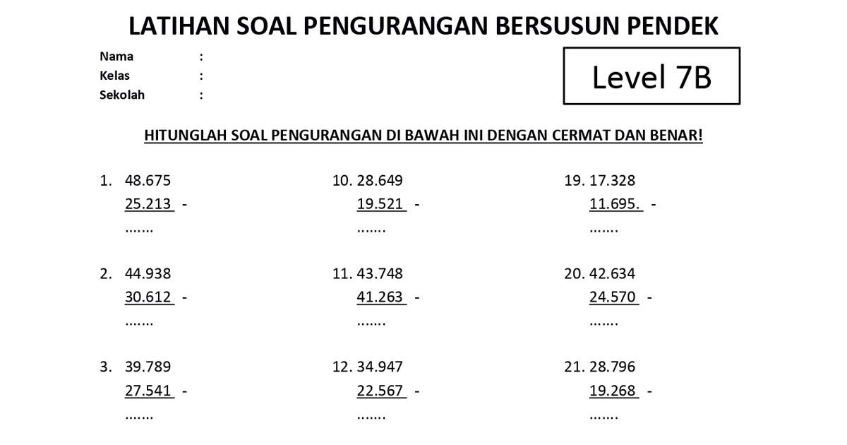 Soal Pengurangan Bersusun Pendek Level 7B - www.bimbelbrilian.com_page-0001 - Copy