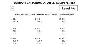 Soal Penjumlahan Bersusun Pendek Level 4 Lembar A - www.bimbelbrilian.com thumbnail
