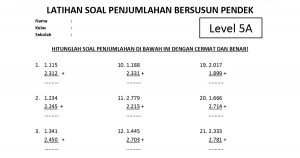 Soal Penjumlahan Bersusun Pendek Level 5 Lembar A - www.bimbelbrilian.com thumbnail