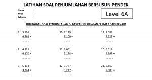 Soal Penjumlahan Bersusun Pendek Level 6 Lembar A - www.bimbelbrilian.com thumbnail