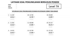 Soal Penjumlahan Bersusun Pendek Level 7 Lembar A - www.bimbelbrilian.com thumbnail