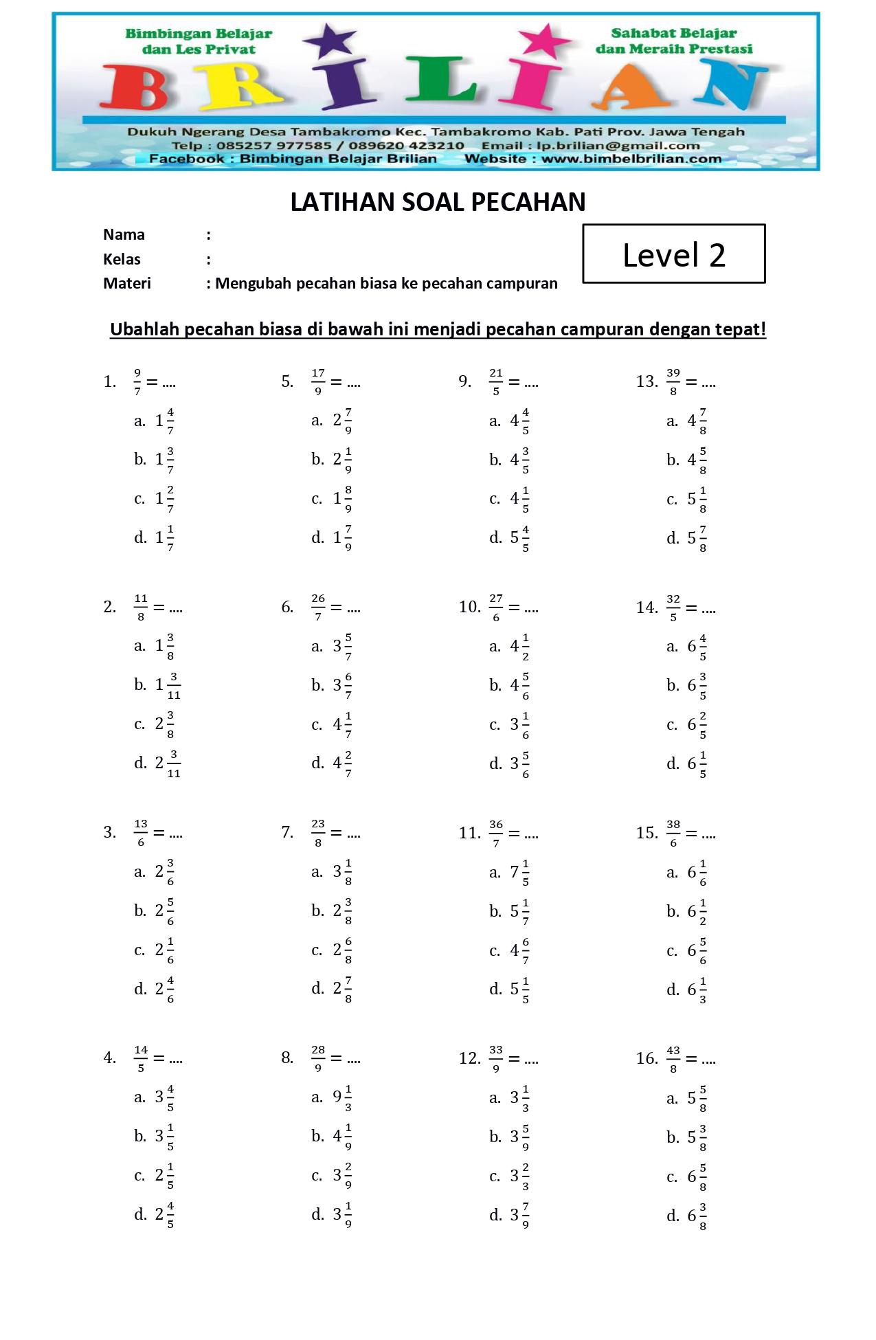 Soal Mengubah Pecahan Biasa dan Campuran Level 2 - www.bimbelbrilian.com _page-0002