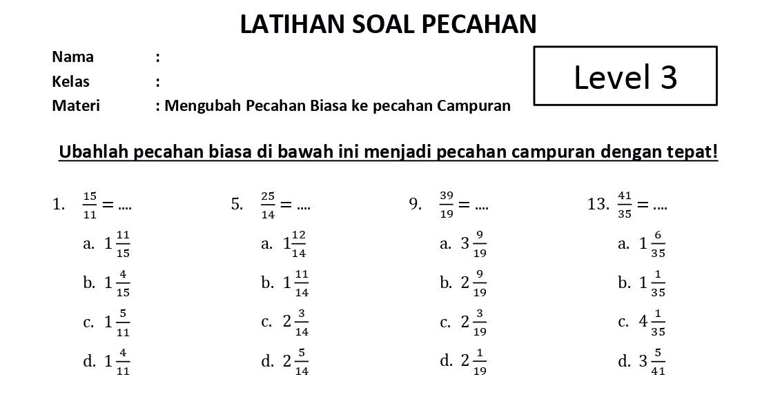 Soal Mengubah Pecahan Biasa dan Campuran Level 3 - www.bimbelbrilian.com thumbnail