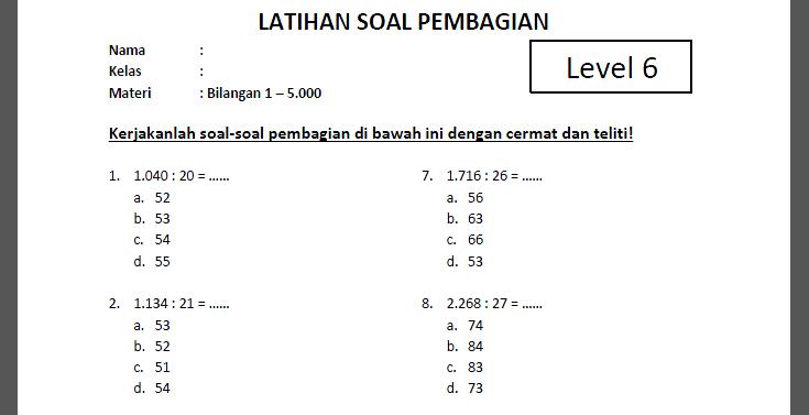 Soal Pembagian Kelas SD 6