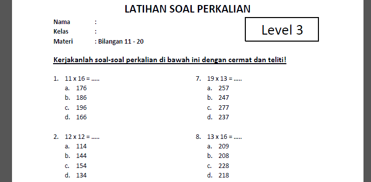 Soal Perkalian Level 3