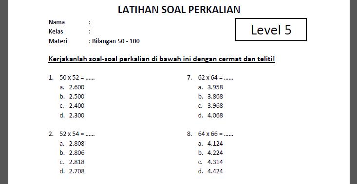 Soal Perkalian Level 5